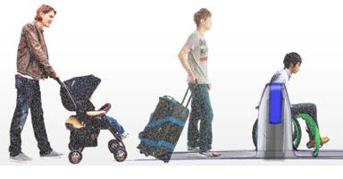 写真:旅行者やベビーバギーに対応した自動改札機の提案