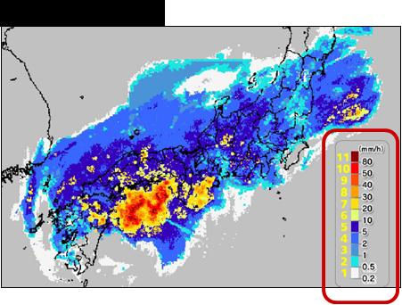 図2:カラーUDグラデーションを適用した「降水量強度分布観測データ」