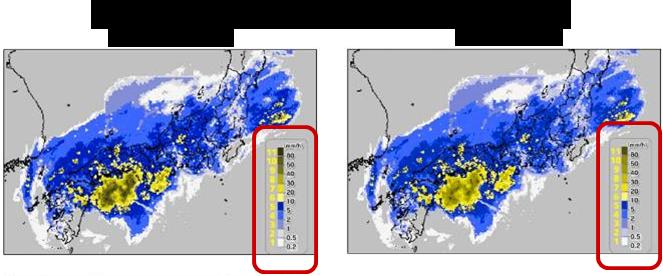 図3:「降水量強度分布観測データ」色覚シミュレーション(P型・D型)